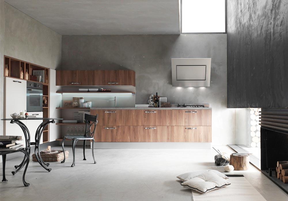 Cucina mod giada anta spessore 28 mm sincronizzata effetto legno