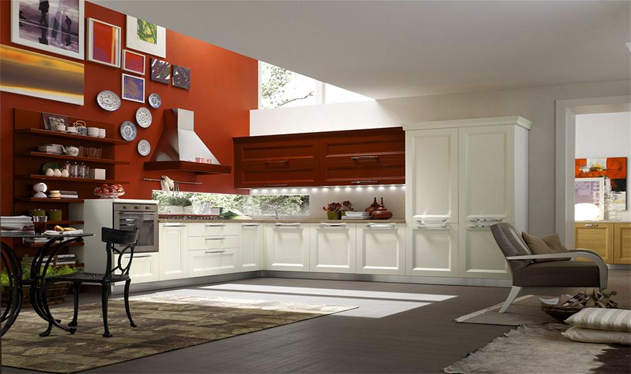 Cucina mod asia anta telaio finitura laccata colore rosso gelsomino