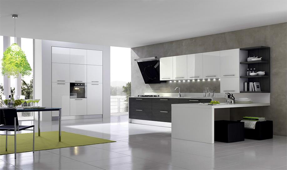cucina bianca e grigia arredare cucina : CUCINA Mod NICE BIANCO LUCIDO E ROVERE GRIGIO DISPONIBILE IN VARIE
