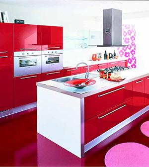 cucina veneta cucine extra con maniglia laccato lucido rosso ...