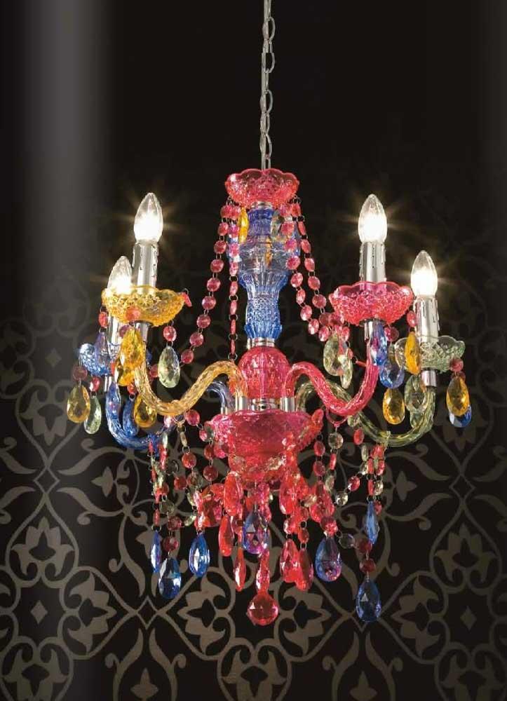 lampadari in metacrilato : Mod. Jewel multicolor , lampadario a 5 luci in metacrilato multicolor.