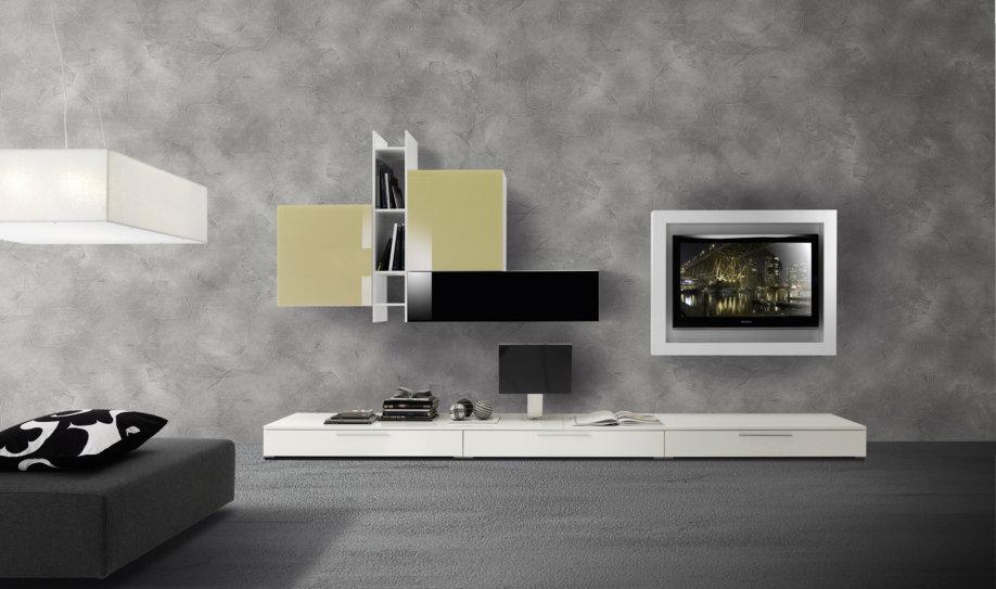 Composizione soggiorno cod.105 , finitura bianco lucido, vetro corda ...